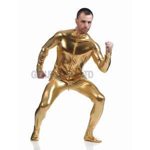 Al por mayor-Hombres adultos de imitación de cuero sin cabeza metálico oro brillante piel Zentai Cosplay traje de Halloween Traje mono Unitard leotardo
