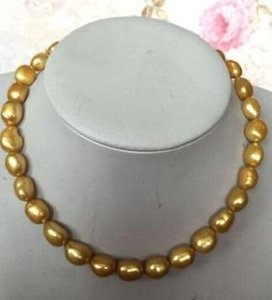 Elegant natural 11-12MM south sea gold pearl necklace 18inch 14K gold clasp