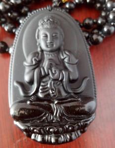 Obsidienne naturelle pendentif Bouddha Vintage Collier Noir pendentif tête de Bouddha pour femmes Jade bijoux
