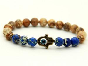 Nouveau design 1PCS 8 mm naturel Jaspe Mer Pierre Perles Sédiments avec bronze antique Hamsa meilleurs Bracelets cadeaux