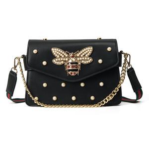 Marque design sac à main belle chaîne de strass sac élégant femme abeille sac à bandoulière en cuir décoratif femmes sac petite perle fraîche printemps