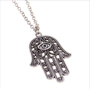 Fashion 100pcs Silver Hollow Evil Eye Hand charms Pendant Chain Sweater Necklace Jewelry