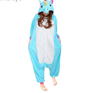 Unicorn Pajamas Women Cosplay Costume Animal Onesie Girls Blue Pink Purple Homewear Flannel Warm Loose Soft Jumpsuit Kid & Adult