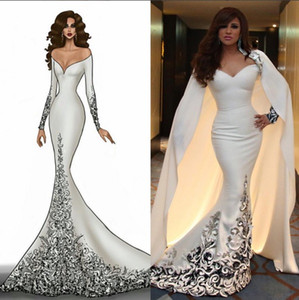 2019 Dubai Arabic Style Evening Gown with Detachable Cape Mermaid Evening Dresses Long Sleeve Applique Beaded Sweep Train Fashion Prom Dress