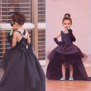 Black Hi-Lo Pageant Dresses For Girls Jewel Satin Flower Girl Dresses For Toddlers Teens Kids Formal Wear Party Communion Dresses EN7051