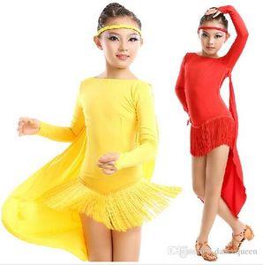 Robe de danse latine pour les filles rouge / jaune / rose / vert Kids Latin Dance Competition robes Baile Latino Cha Cha / Rumba / Samba jupes