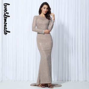 الجملة LoveLemonade مثير الأبيض فلاش الخرز شعرية فستان ماكسي سليم TB 10036
