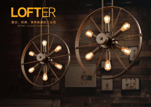 Loft led pendant lamp wind wheel restaurant industrial lighting fixture vintage chandelier coffee restaurant indoor lighting
