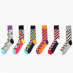 Atacado-New colorido feliz meias estilo meias de algodão quadrado para homens mulheres cavalheiro homens meias