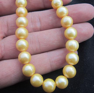 Beautiful 9-10mm south sea gold natural pearl necklace 18 inch 14k gold clasp