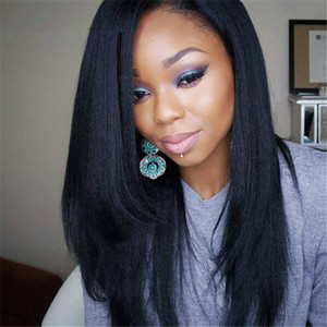 Side Part Yaki Straight Human Hair Wigs With Baby Hair Brazilian Lace front Wig Yaki Straight Glueless Full Lace Wig For Black Woman