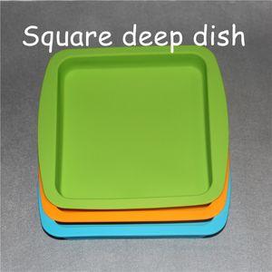 """2 pcs silicone cera prato bandejas profundas forma quadrada 8 """"x 8"""" food garde silicone recipiente concentrado quadrado bandeja de silicone"""