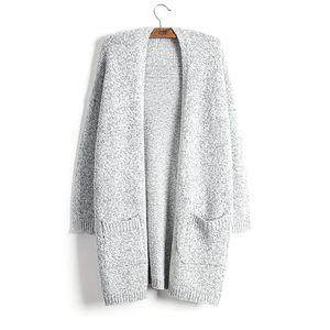 Strickjacke-Frauen-Mantel-Art- und Weiseherbst-Winter-starke behalten warme Strickjacke-neue Dame-Strickjacke-graue lange Art strickt solides mit der Tasche übergroßen 5XL