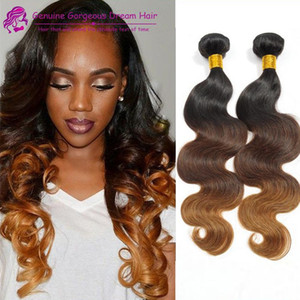 Body Wave 100% Ombre human Hair Extensions Human Hair Weave Bundles ombre human hair weft 3PCs T1B 4 27 Peruvian bundles in stock