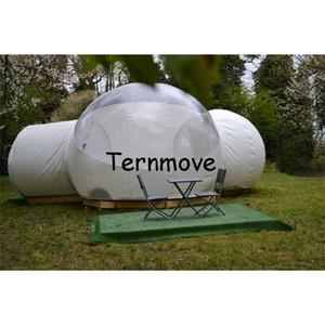 tenda di campeggio esterna per la stella, tenda a metà bianca gonfiabile di semicerchio della bolla con due stanza, tende gonfiabili della cupola per gli eventi