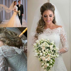 Vestidos de Noiva Printemps romantique Applique dentelle robes de mariage Vintage manches longues Une ligne robe de mariée plage Robes de mariée Robe CPS297