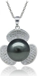 b lack natural pearl inlay diamond clover lady's necklace (168)