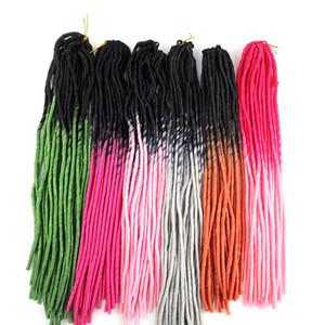 Ombre Faux Locs Häkeln Flechten Haarteile kanekalon Synthetische Zöpfe Twist Haar 20inch 100g zweifarbige Haarverlängerungen