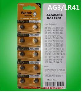500cards (5000pcs / lot) 0% pilas de reloj botón alcalina Hb Pb AG3 LR41 1.5v celular, 10pcs por tarjeta de la ampolla -RoHS CE