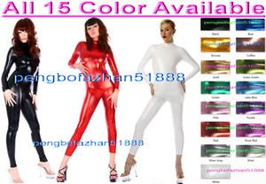 Yeni 15 Renk Parlak Likra Metalik Takım Catsuit Kostümleri Unisex Bodysuit Seksi Vücut Suit Kostümleri Geri Zip Halloween Party Cosplay Suit P087
