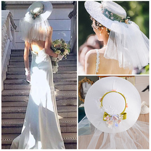 2021 Beautiful Bridal Hats Veils with Flowers and Lace Fast Shipping Tulle Hand Made Vintage Wedding Hats