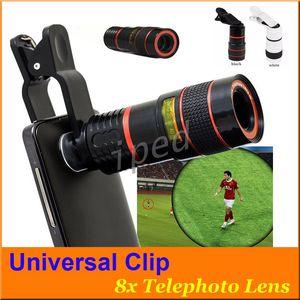 Cheap Clipe Universal 8X Ampliação Zoom Mobile Phone Telescope Lens Telefoto inteligente Externa Lens telefone Câmera de iphone 50pcs samsung
