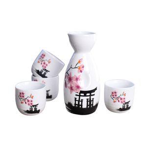 Ensemble de saké japonais peint à la main Kiyomizu Temple et Cherry Blossom Ceramic Wine Wine Cups