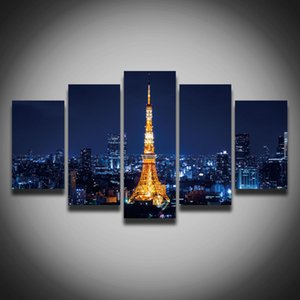 5 Panel Printed city night scenery Tokyo Tower picture painting on canvas cityscape building landscape wall room home decor Canvas art