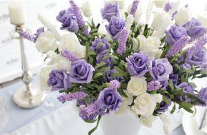 Fiori artificiali Peonia Bead Lavender Rose Bridal 9 Heads Rose Bouquet Party Flower Arrangement 2016 NUOVO ARRIVO