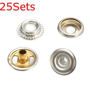 25 juegos de acero inoxidable sujetador Snap Press Stud Button Marine Set 100 piezas