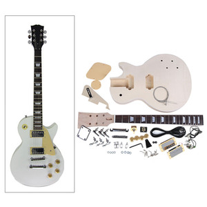 새로운 도착! 고품질 전자 기타 DIY 키트 세트 마호가니 바디 로즈 우드 지판 니켈 합금 문자열