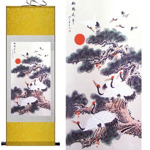 1 Unidades de HD Impreso Longevidad Crane Wall Pictures Chinese Scroll Seda Pared Art Poster Picture Painting Decoración Del Hogar Colgante de Pared