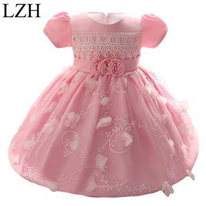 Venta al por mayor- lzh niñas para bebés vestido 2017 niños niña princesa 1 año fiesta de cumpleaños vestido tutu para disfraces de bebé vestido de bautizo infantil 0-2 año