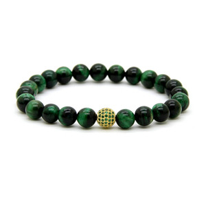 Venta caliente 8mm A Grade Green Tiger Eye Stone Beads con 9mm Micro Paved Green Cz Ball Beaded Party Gift Bracelet