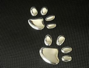 VENTE CHAUDE 100PR / LOT Auto décalcomanies avec patte de chien Autocollants pour voiture doux pvc argent Cool voiture bon marché stickers