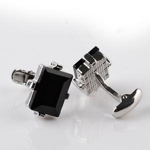 Modern Design Big Black Crystal Gift Cufflinks Curve Men's Wedding Shirt Copper French Cuff Links 6