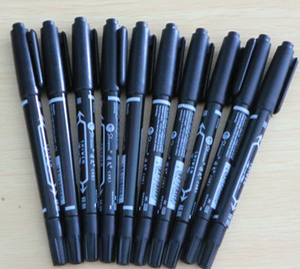 10PCS 블랙 듀얼 문신 피부 마커 피어싱 스크 라이브 펜 마킹