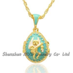 Мода ювелирные изделия выводы женщины Русский стиль ангел детские Фаберже яйцо кулон медальон ожерелье ручной эмали День Святого Валентина подарки