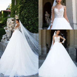 2018 Vintage Sheer Neck Vestidos de novia de encaje una línea larga ilusión mangas apliques longitud del piso vestidos nupciales baratos personalizados