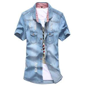 Wholesale-New Men Denim Blue Bluse Hemd US UK Flag Kurzarm Patchwork Camisa Vintage Jean Bluse Hemden Marke Shirts 4 Farben M-3XL