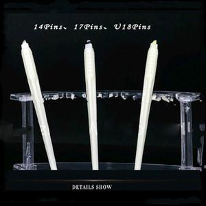 Penne per microblading usa e getta bianche di trucco permanente all'ingrosso di alta qualità 50pcs con lame per ricamo aghi perni 7/12/14/17/18