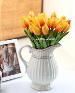 Boda mini 31 Unids / lote Pu Mini Tulip Flower Real Touch Boda Ramo de Flores Artificiales Flores de Seda Para El Hogar Decoración Del Partido
