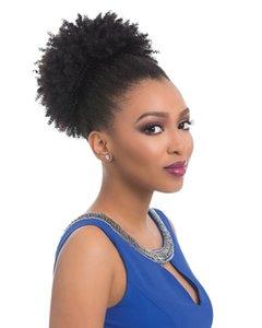 Dora Afro-amerikan bakire malezya saç Afro Kısa Sapıkça Kıvırcık Wrap İpli Puf Ponytail Bun Uzatma