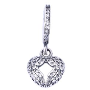 Angel Wings baumeln Charme mit Micro Clear Crystal Frei Typ Herz Charm 925 Sterling Silber Schmuck Fit-Korn-Armband DIY BF5