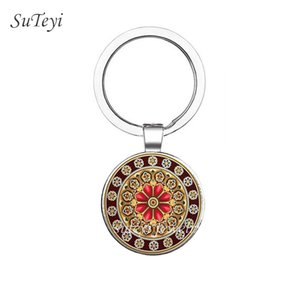 Vintage Glass Picture High Quality Key Ring Mandala Geometry Keychain Crystal Handmade Religious Key Chain Jewelry For Friend
