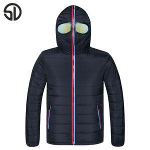 Wholesale- New Hooded Warm Slim Fit Men Women Spring Winter Couple Jacket Coat Lovers Parka Outwear Windbreaker With Glasses Fashion Design