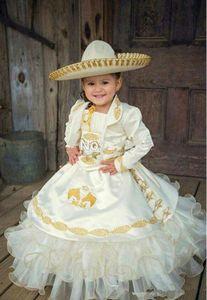 2020 Золото Вышивка бальное платье Цветочные платья девушки с органзы атласная девушки Pageant платье платья для первой евхаристии BF27