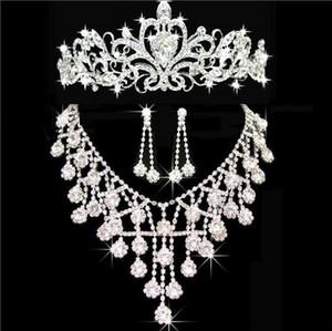 2020 Hot En stock Bling Accessoires de mariage d'argent Tiaras Collier boucles d'oreilles en cristal strass Coiffes femmes Couronnes cheveux Bijoux