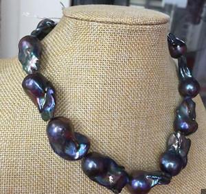 Joyería de perlas finas impresionante 28-30mm enorme collar de perlas azul pavo real barroco 18 pulgadas 925