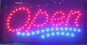 오픈 사인 높은 가시 밝은 세련된 2 색 Led 이동 깜박이는 애니메이션 네온 사인 모션 스위치 버튼 체인 19x10 비즈니스